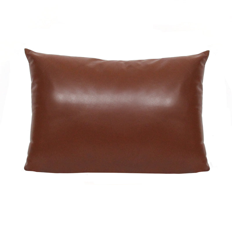 Stratton Home Decor Brown Faux Leather Lumbar Pillow