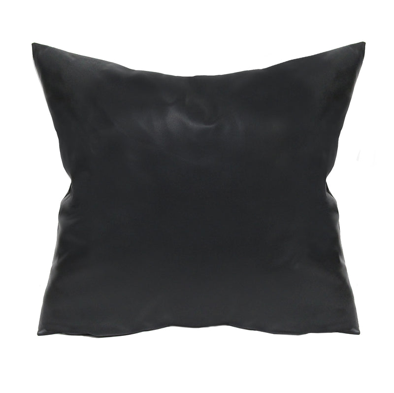 Stratton Home Decor Black Faux Leather Pillow