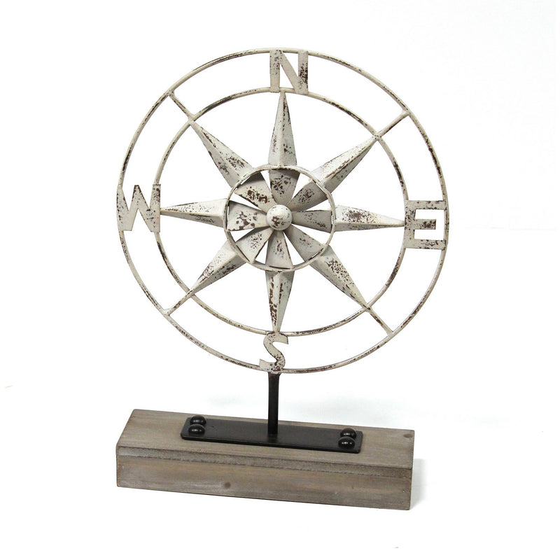 Stratton Home Decor Metal Compass Table Top