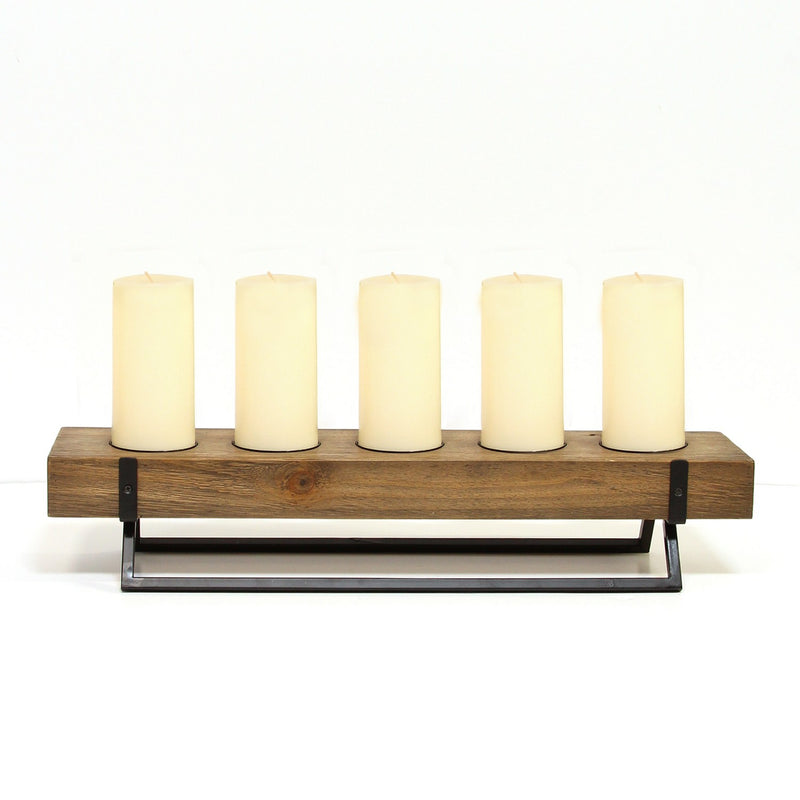 Stratton Home Decor Rustic 5 Candle Holder Centerpiece