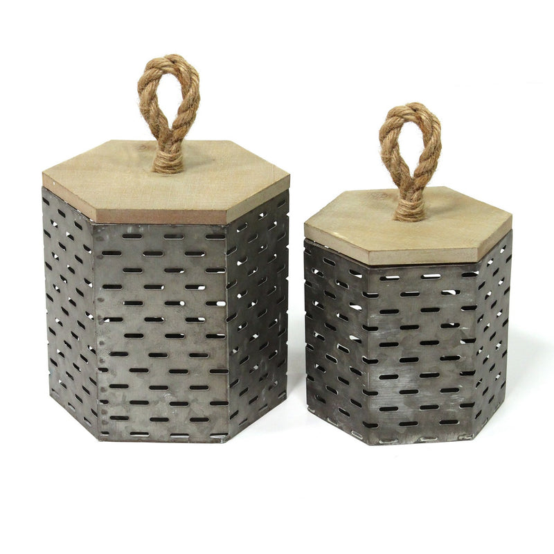 Stratton Home Decor Set of 2  Metal Decorative Containers