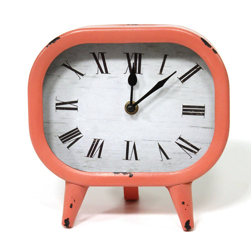 Stratton Home Decor Susie Retro Coral Metal Table Clock