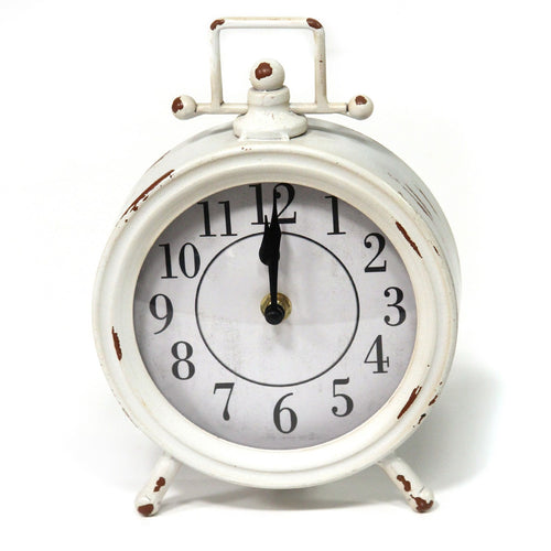 Stratton Home Decor Dorothy Vintage White Metal Table Clock