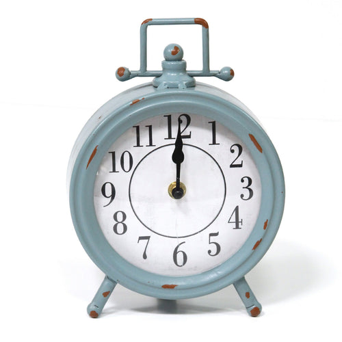 Stratton Home Decor Dorothy Vintage Blue Metal Table Clock