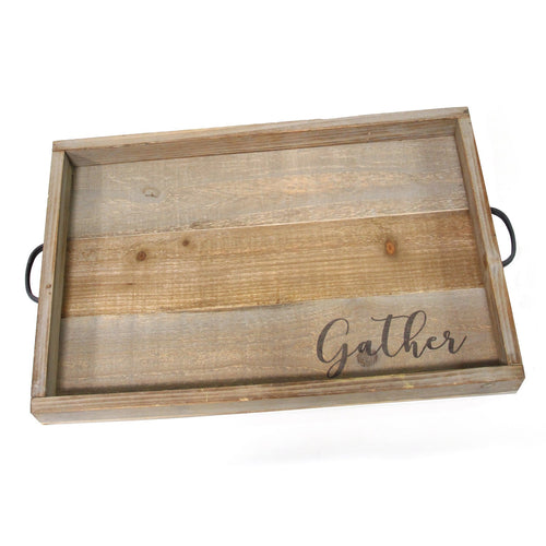"Stratton Home Decor ""Gather"" Wood Tray"