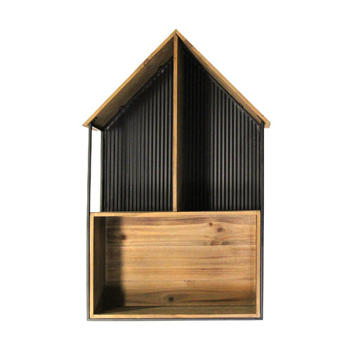 Stratton Home Decor Metal and Wood House Wall Shelf