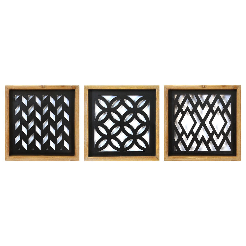 Stratton Home Decor Set of 3 Modern Wood and Metal Laser Cut Wall Decor