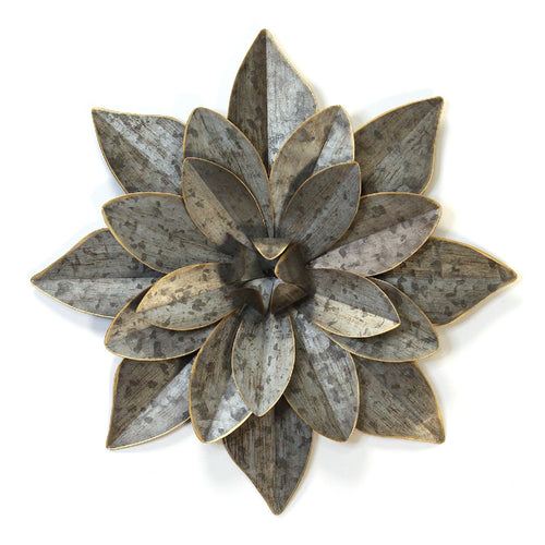 Stratton Home Decor Layered Galvanized  Metal Flower