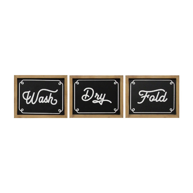 Stratton Home Decor Set of 3 Wash Dry Fold Wall Decor