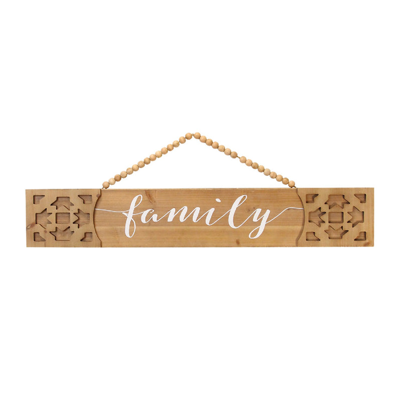 Stratton Home Decor Nordic Laser Cut Family Wood Sign with Hanging Beads