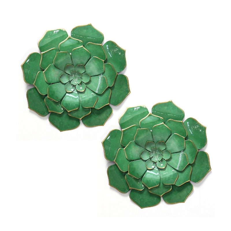 Stratton Home Decor Set of 2 Green Metal Flowers