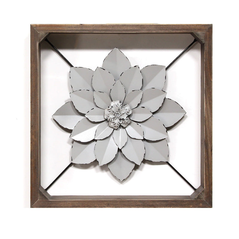 Stratton Home Decor Grey Framed Metal Flower
