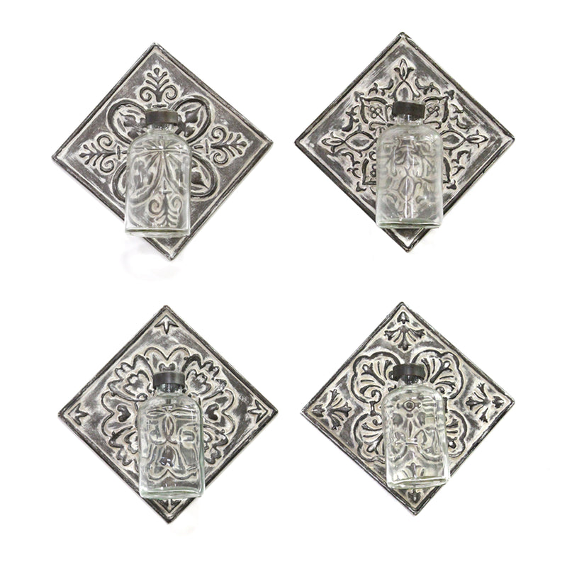 Stratton Home Decor Set of 4 Metal Accent Tile with Hanging Glass Vase