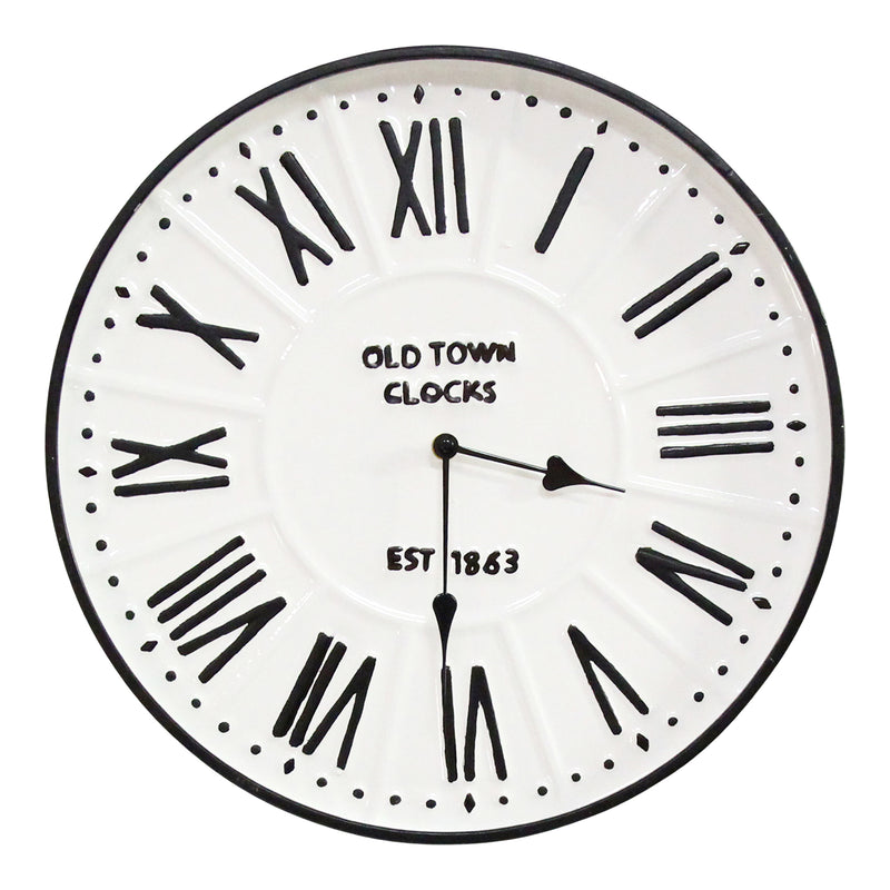 "Stratton Home Decor 16"" Metal Enamel Parker Wall Clock"