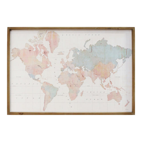 Stratton Home Decor Watercolor World Map Print Wall Art