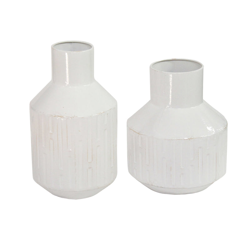 Stratton Home Decor Set of 2 Metal White Table Vase
