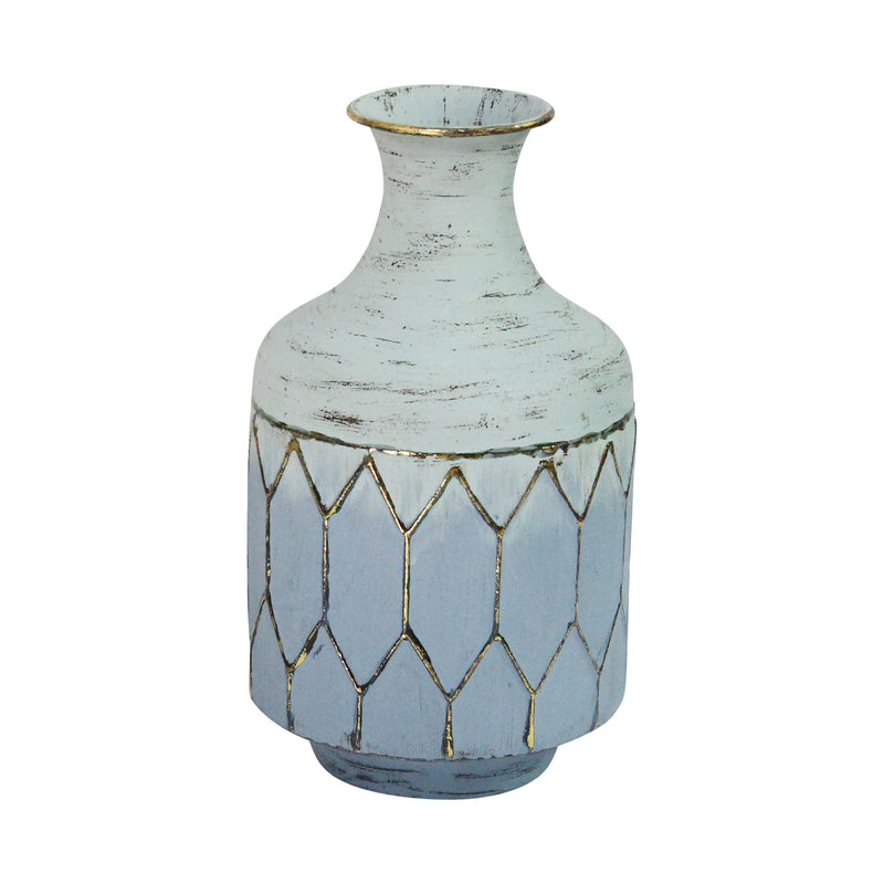 Stratton Home Decor Blue Metal Table Vase
