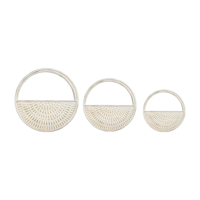 Stratton Home Decor Set of 3 White Circle Wall Planters