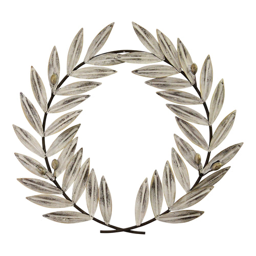 Stratton Home Decor Distressed White Metal Wreath Wall Decor
