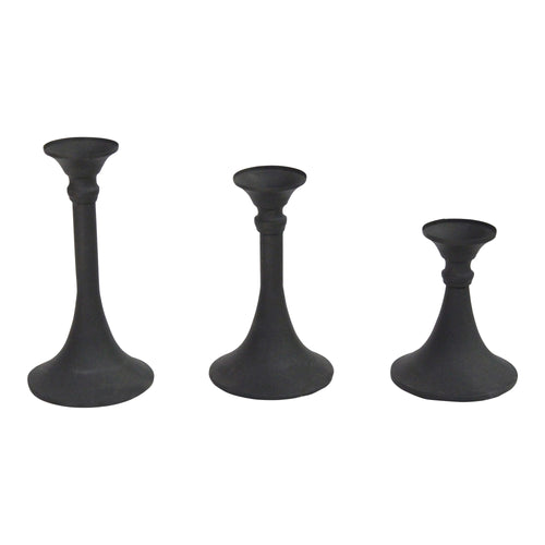 Stratton Home Decor  Set of 3 Matte Black Metal Candlestick