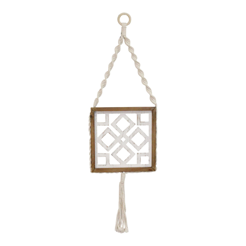 Stratton Home Decor Hanging Wood Macrame Wall Art