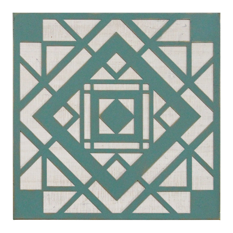 Stratton Home Decor  Green Aztec Metal And Wood Tile Wall Decor