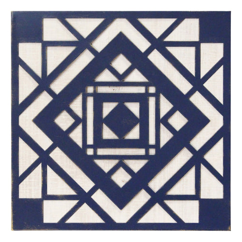 Stratton Home Decor Blue  Aztec Metal And Wood Tile Wall Decor
