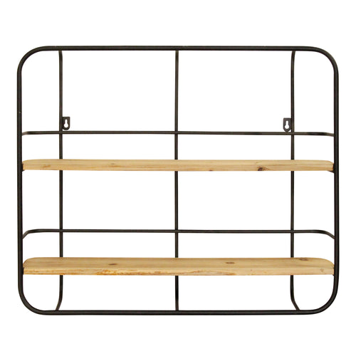 Stratton Home Decor Metal and Wood Wall Shelf