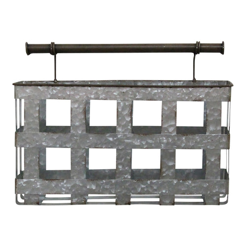 Stratton Home Decor Galvanized Metal Wall Basket