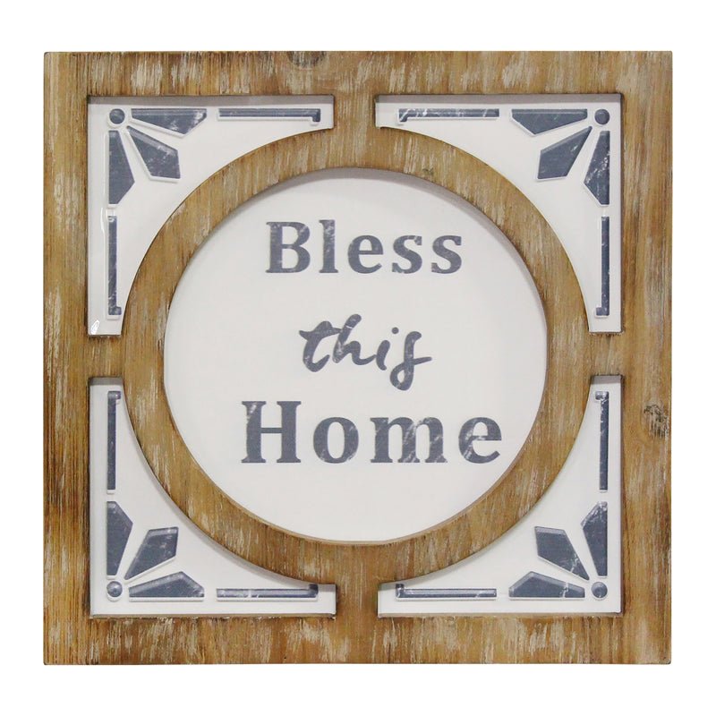 Stratton Home Decor Bless this Home Metal and Wood Wall Art