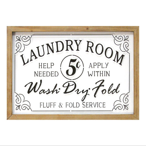 Stratton Home Decor Vintage Laundry Room Framed Glass Wall Art