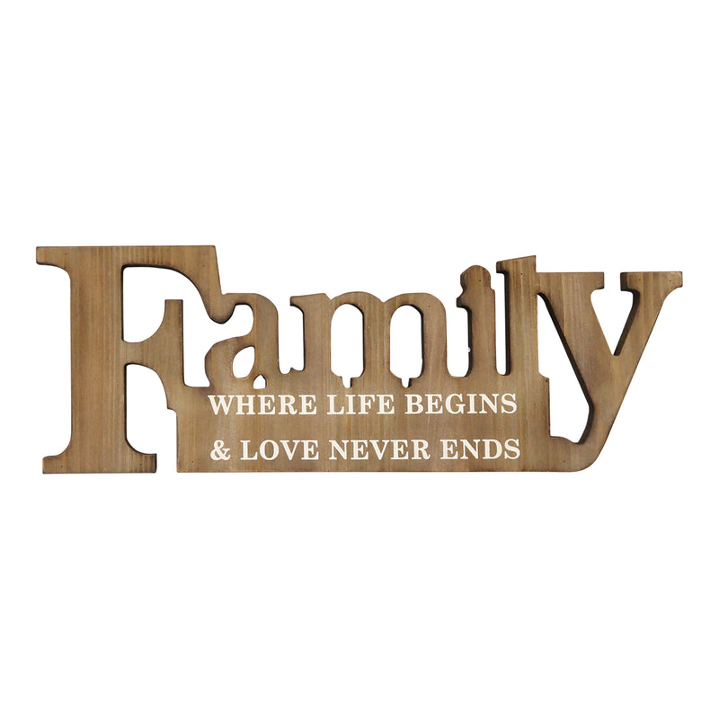 Stratton Home Decor Family where life begins Wood Wall Decor