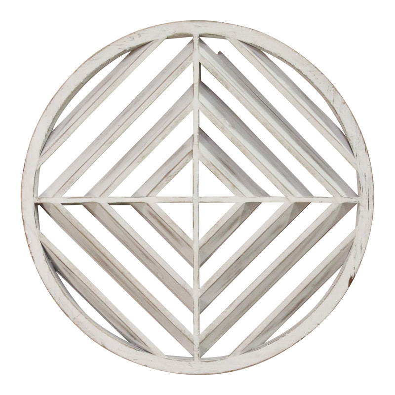 Stratton Home Decor White Wood Modern Medallion Wall Art