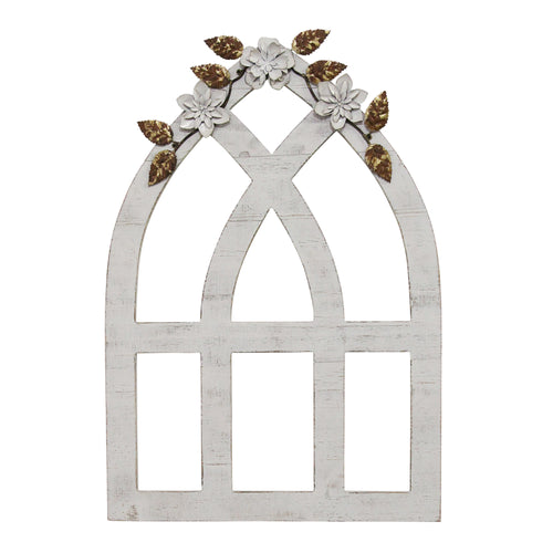 Stratton Home Decor White Arch with Metal Flowers Wall Décor