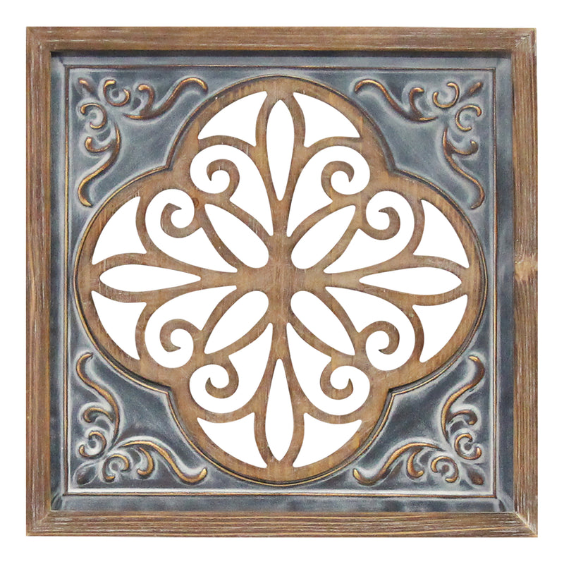 Stratton Home Decor Wood and Metal Blue Square Wall Décor