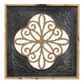 Stratton Home Decor Wood and Metal White Square Wall Décor