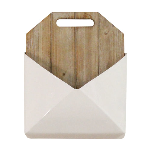 Stratton Home Decor Wood and Metal White Wall Mailbox