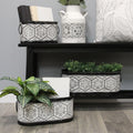 Stratton Home Decor Set of 3 Black and White Planters