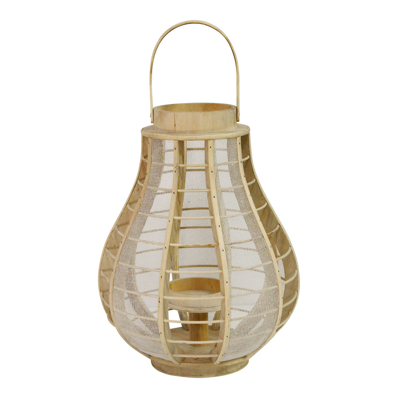 Stratton Home Decor Wood and Burlap Mesh Lantern
