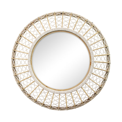 "Stratton Home Decor 33.50"" Cassie Woven Rattan Wall Mirror"