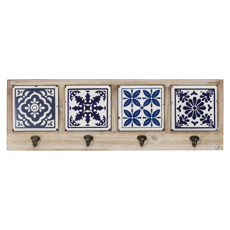 Stratton Home Decor Blue and White Accent Tile Coat Rack