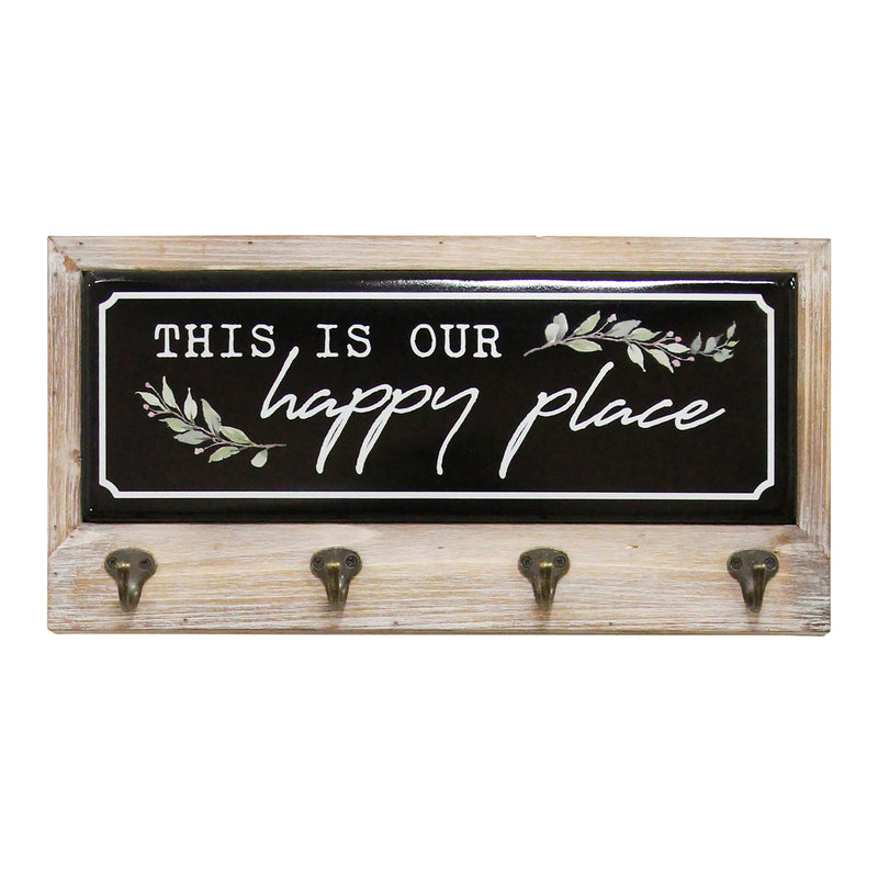 Stratton Home Decor This Is Our Happy Place Metal and Wood Coat Rack