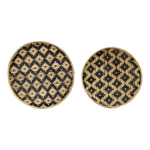 Stratton Home Decor  Set of 2 Two Tone  Woven Bamboo Plates