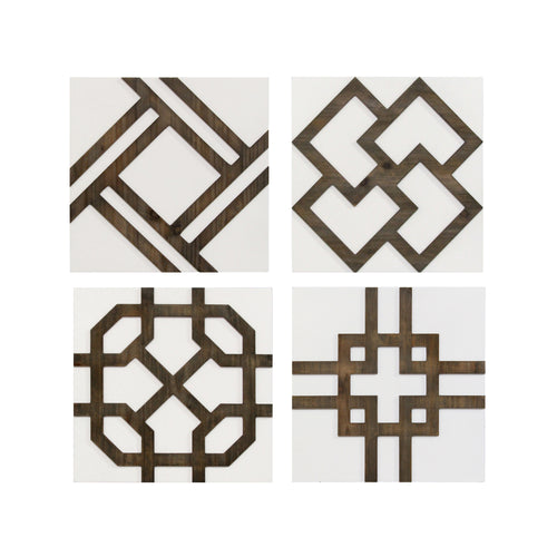 Stratton Home Decor Set of 4 Wood Accent Wall Decor