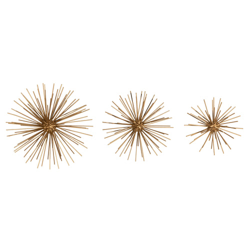 Stratton Home Decor Set of 3 Gold Bursts Wall Decor