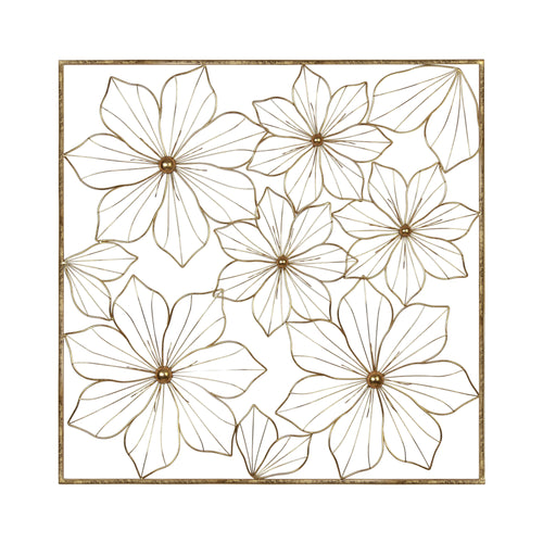 Stratton Home Decor Gold Flower Square Panel