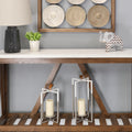 Stratton Home Decor Grey and White Tall Metal Modern Farmhouse Lantern
