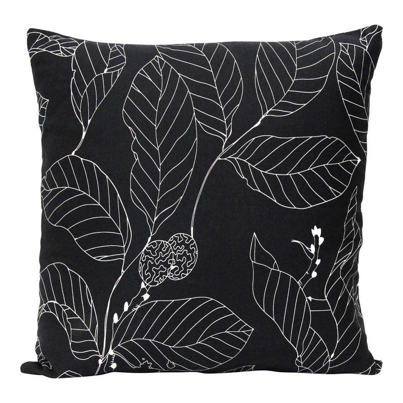 "Stratton Home Decor Black Leaf Outline 18"" Square Pillow"