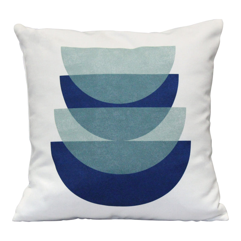 "Stratton Home Decor e Blue Overlapping Abstract 18"" Square Pillow"
