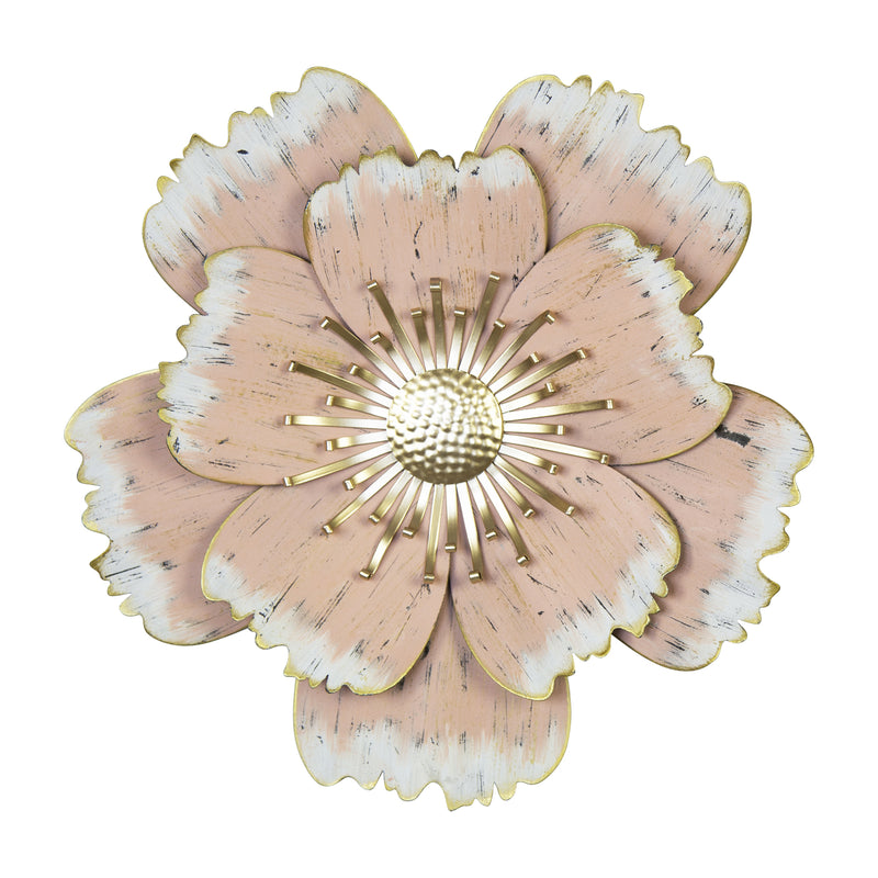 Stratton Home Decor Layered Pink Metal Flower Wall Decor